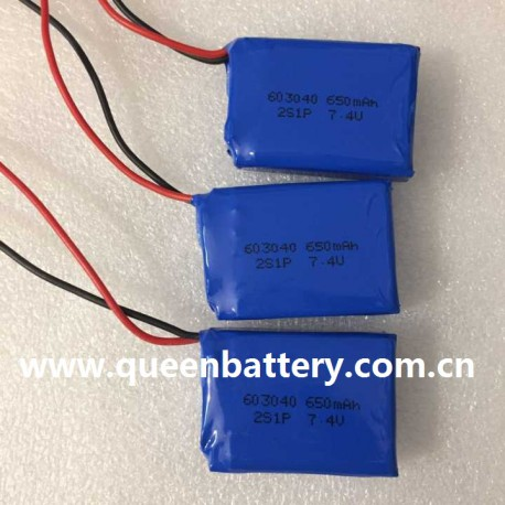 2S1P 603040 7.4V 650mAh battery pack with PCB 3A