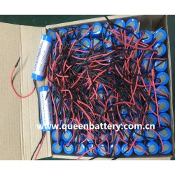 3.7v 3.6v 1s1p 18650 QB18650 2600mah 3000mah LED miner lamp battery with PCM PCB 2A with 22AWG silicon wires