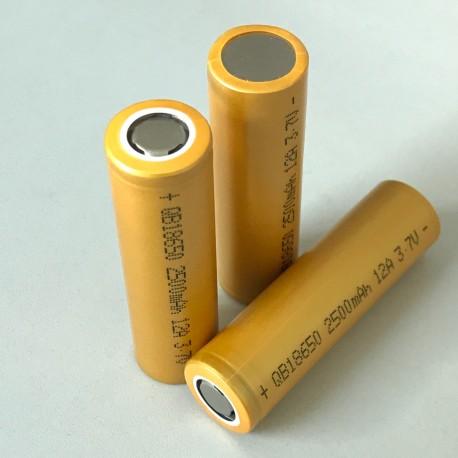 QB18650 2500mAh li-ion high drain 12A battery cell 3.7V
