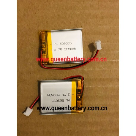 503035 3.7V 500mAh li-polymer li-po 1s1p battery for mp3 dvd bluetooth speaker with PCM 2A with 26awg JST PHR-02 connector