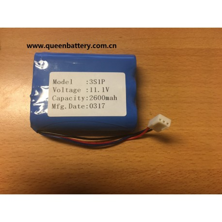 3S1P 10.8V li-ion battery pack 2600mAh with PCB with 10K thermistor