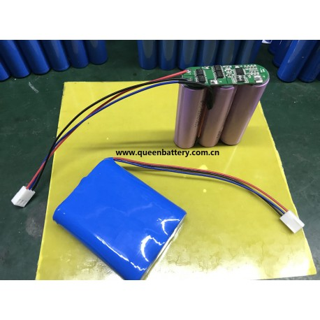 3s1p 11.1v 10.8v samsung 18650 battery pack with  pcb with 10k thermistor  with 3pin connector