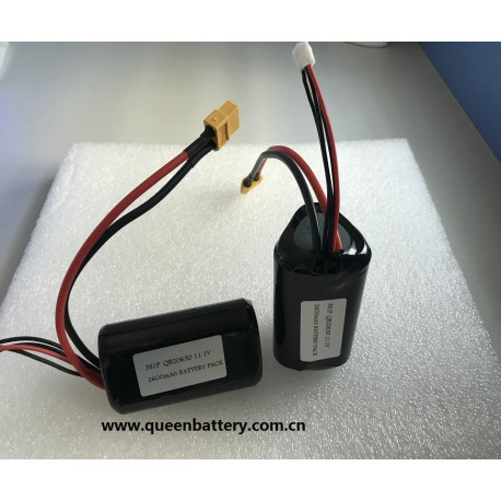10.8V 11.1V QB20650 3S1P 2600mAh battery pack with XT60 with 3P balance wires