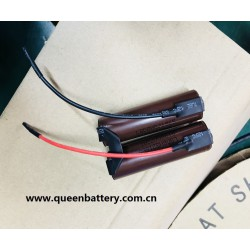 2S1P 7.4V 7.2V LG HG2 3000mAh battery pack with 10cm 18AWG lead wires