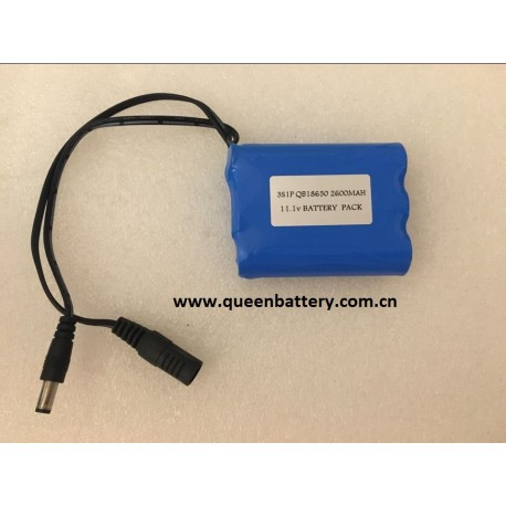 3S1P QB18650 11.1V 2600MAH battery pack with pcb 2-4A with DC connector