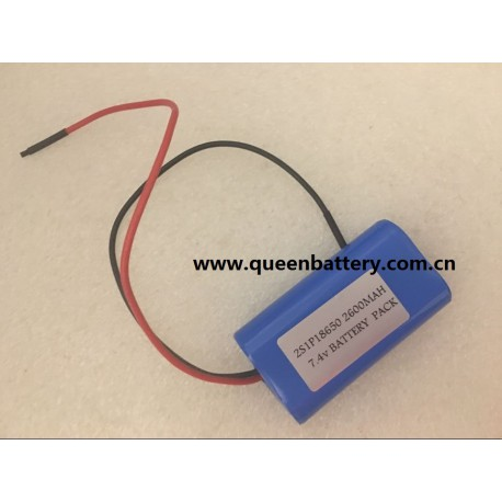QB18650 QB 7.4v 2600mah 2s1p 18650 battery pack with pcb 2a with 18awg lead wire 20cm