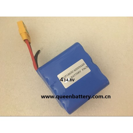 4S2P 18650 LG HG2 BATTERY PACK 14.8V 6000mAh with XT90 with jst connector